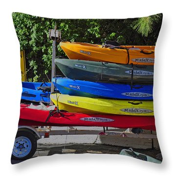 Malibu Kayaks Throw Pillow