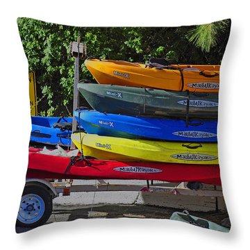 Malibu Kayaks Throw Pillow by Gandz Photography