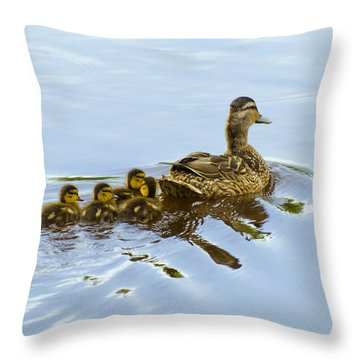 Mallard And Chicks  Throw Pillow