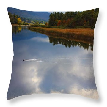 Throw Pillow featuring the photograph Mallard Duck On Lake In Adirondack Mountains In Autumn by Jerry Cowart