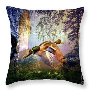 Mallard Ducks Flying To The Lake Throw Pillow