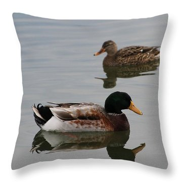 Throw Pillow featuring the photograph Mallard Ducks Reflecting by Robert Banach
