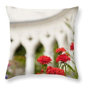 Maltese Cross Flowers Throw Pillow by Anne Gilbert