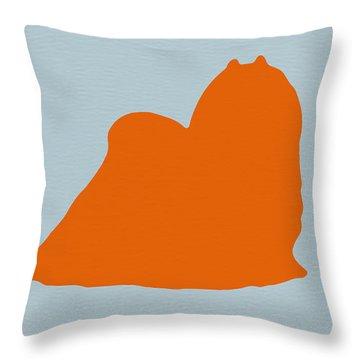 Maltese Orange Throw Pillow by Naxart Studio