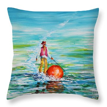 Strolling On The Water Throw Pillow