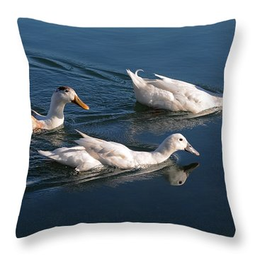 Throw Pillow featuring the photograph Mama Duck Leads The Way by Susan Wiedmann