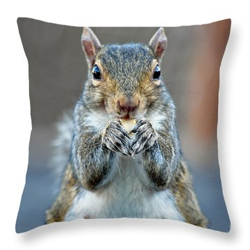 Mama Showing Off Her Manicure Throw Pillow by Susan Wiedmann