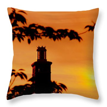 Throw Pillow featuring the photograph Mamaroneck Lighthouse Nearing Sunset by Aurelio Zucco