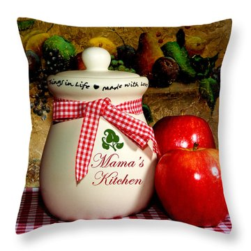 Mama's Kitchen Throw Pillow by Cecil Fuselier