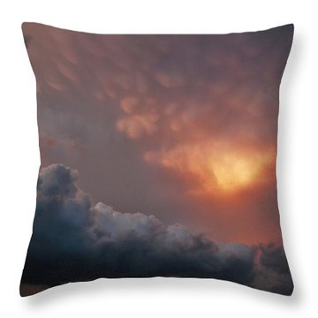 Throw Pillow featuring the photograph Mammatus At Sunset by Ed Sweeney