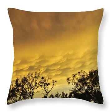 Throw Pillow featuring the photograph Mammatus Clouds At Sunset by Karen Slagle