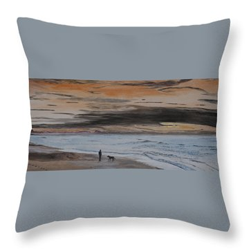 Man And Dog On The Beach Throw Pillow