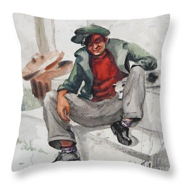 Man And His Dog 1930 Throw Pillow
