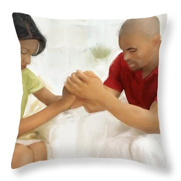 Man And Wife Pray Throw Pillow by Vannetta Ferguson