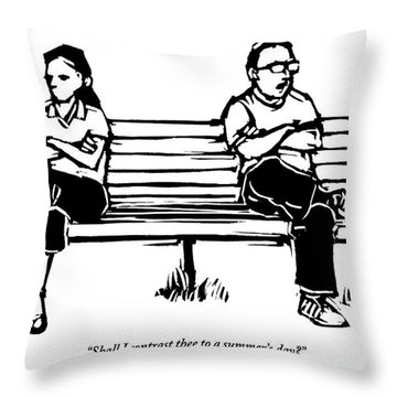 Man And Woman Sit On Bench Opposite One Another Throw Pillow