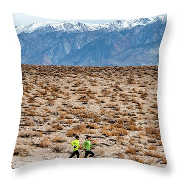 Man And Woman  Trail Running Throw Pillow