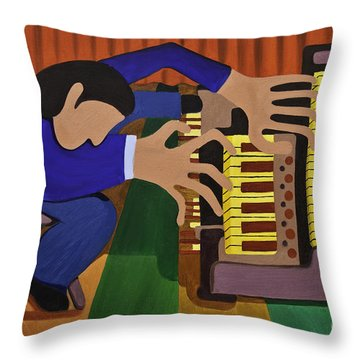 The Organist Throw Pillow