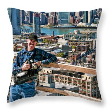 Man At Work Throw Pillow by Steve Sahm