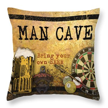 Man Cave-bring Your Own Beer Throw Pillow by Jean Plout