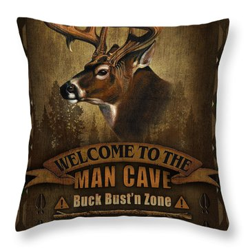 Man Cave Deer Throw Pillow by JQ Licensing