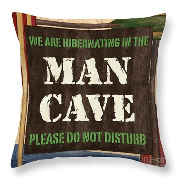 Man Cave Do Not Disturb Throw Pillow by Debbie DeWitt