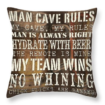 Man Cave Rules Square Throw Pillow by Debbie DeWitt