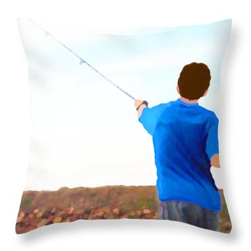 Throw Pillow featuring the painting Man Fishing by Marian Cates