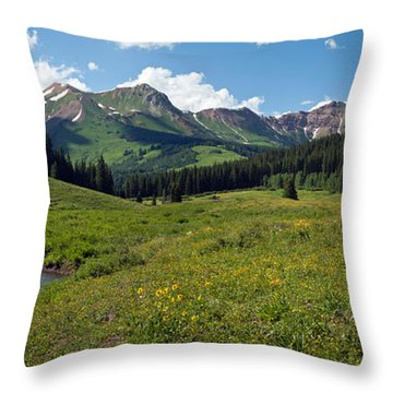 Man Fly-fishing In Slate River, Crested Throw Pillow