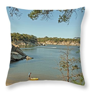 Man Going Kayaking Throw Pillow