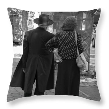 Man Hat And Woman Throw Pillow
