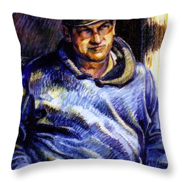 Man In Barn Throw Pillow by Stan Esson