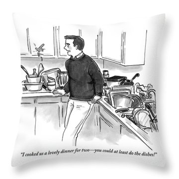 Man In Kitchen Surrounded By Dishes Throw Pillow