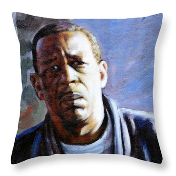 Man In Morning Sunlight Throw Pillow by John Lautermilch