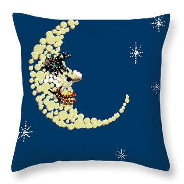 Man In The Moon Dazzled Throw Pillow by R  Allen Swezey