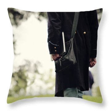 Man In Union Uniform Throw Pillow by Stephanie Frey