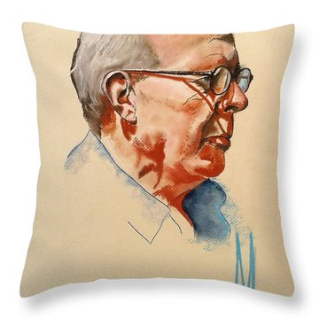 Throw Pillow featuring the drawing Man Looking At The Sea by Maja Sokolowska