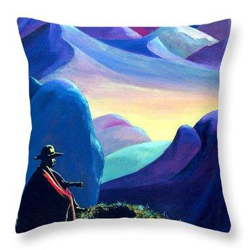 Man Meditating Throw Pillow by Susan DeLain
