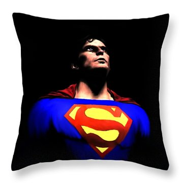 Throw Pillow featuring the painting Man Of Steel by Jeff DOttavio