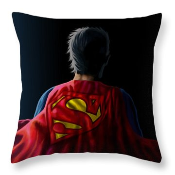 Throw Pillow featuring the digital art Man Of Steel - Superman by Anthony Mwangi