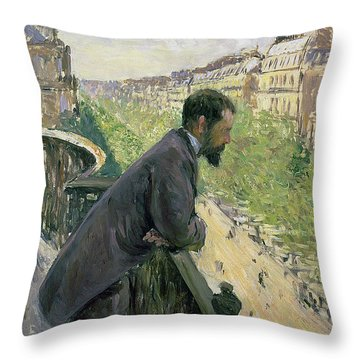 Man On A Balcony Throw Pillow by Gustave Caillebotte