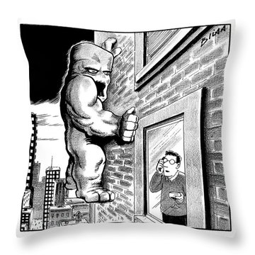 Man On Cell Phone Sees Monster On Side Throw Pillow