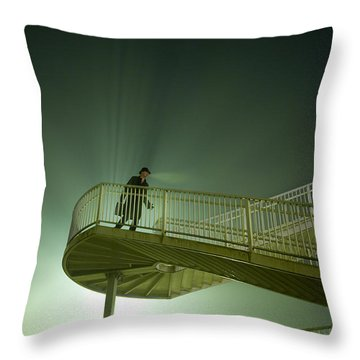 Throw Pillow featuring the photograph Man On Stairs With Case In Fog by Lee Avison