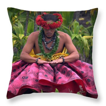 Man Performing Ancient Hula Throw Pillow