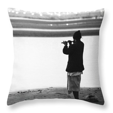 Man Playing Flute Throw Pillow