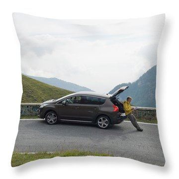 Man Rests On Trunk Of Car On Mountain Throw Pillow