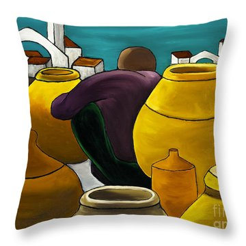 Man Selling Pots Throw Pillow