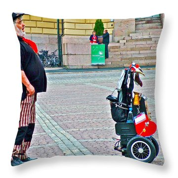 Man Singing In Senate Square In Helsinki-finland Throw Pillow by Ruth Hager