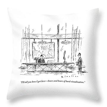 Man Sitting Behind Gigantic Desk Speaks Throw Pillow