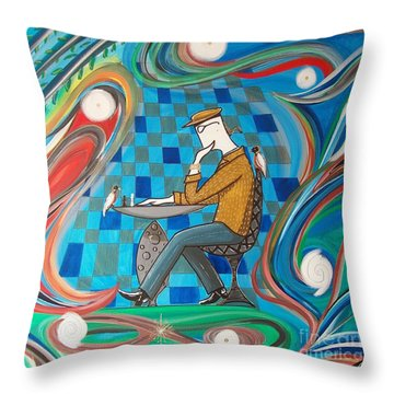 Man Sitting In Chair Contemplating Chess With A Bird Throw Pillow