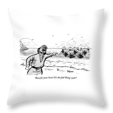 Man Standing On The Beach Screams As A Fleet Throw Pillow